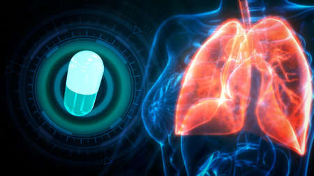 cg medical 3d illustration, human lungs struck by tablet Banque d'images