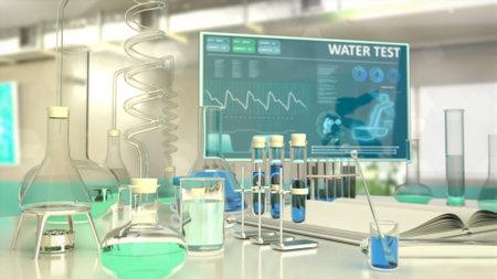 cg medicine 3d illustration, laboratory natural water examination Banque d'images