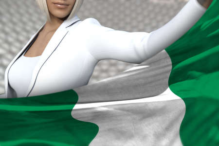 pretty business lady is holding Nigeria flag in front of her on the modern architecture background - flag concept 3d illustration