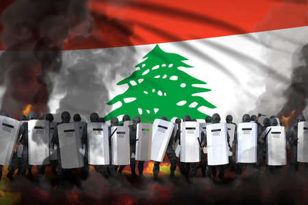 Lebanon police guards in heavy smoke and fire protecting law against revolt - protest stopping concept, military 3D Illustration on flag background Banque d'images