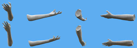 Set of gray concrete statue hand detailed renders isolated on blue, lights and shadows distribution example for artists or painters - 3d illustration of objects