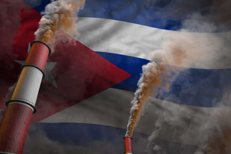 Pollution fight in Cuba concept - industrial 3D illustration of two large factory pipes with heavy smoke on flag background