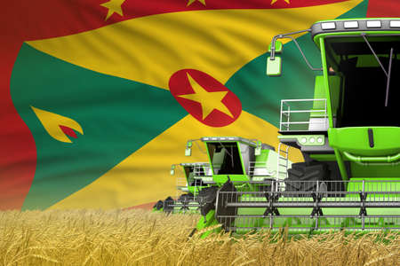 industrial 3D illustration of 3 green modern combine harvesters with Grenada flag on grain field - close view, farming concept Banque d'images