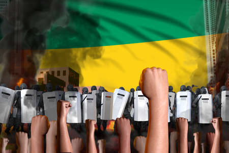 riot stopping concept - protest in Gabon on flag background, police officers stand against the demonstrators crowd - military 3D Illustration Banque d'images