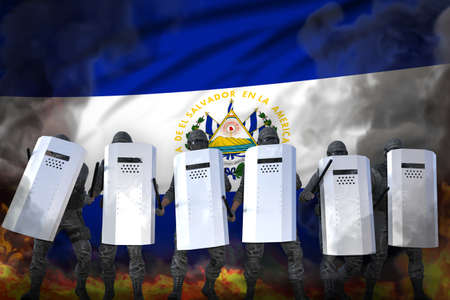 El Salvador protest stopping concept, police squad protecting country against revolt - military 3D Illustration on flag background