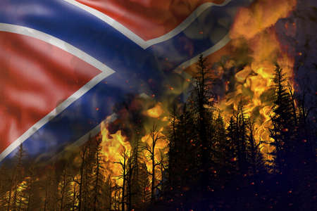 Forest fire fight concept, natural disaster - flaming fire in the woods on Novorossia flag background - 3D illustration of nature