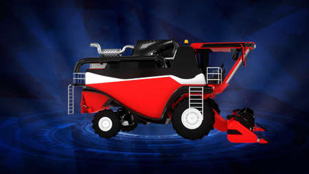 industrial 3D illustration, farm harvester on dark background