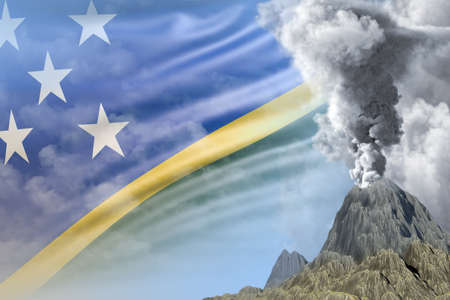 big volcano blast eruption at day time with white smoke on Solomon Islands flag background, suffer from natural disaster and volcanic ash concept - 3D illustration of nature