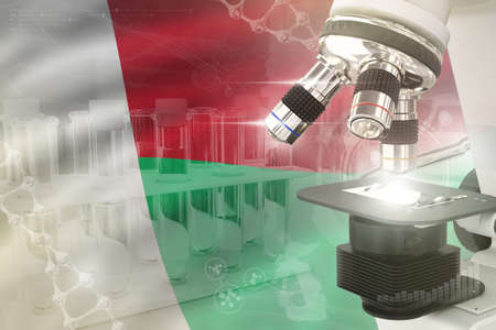 Madagascar science development digital background - microscope on flag. Research of pharmaceutical industry design concept, 3D illustration of object