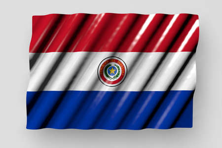 pretty celebration flag 3d illustration - shining flag of Paraguay with large folds lay isolated on gray