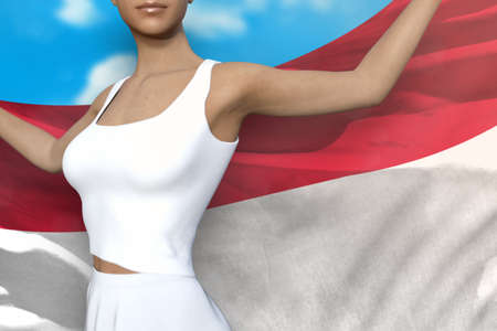 beautiful woman is holding Monaco flag in her hands behind her on the cloudy sky background - flag concept 3d illustration