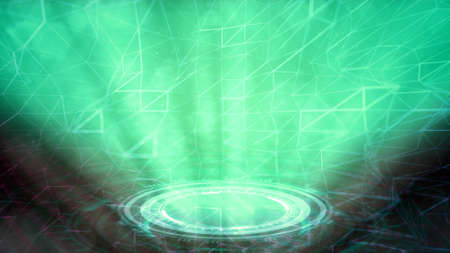 Neon science teleport background, cg abstract 3D rendering