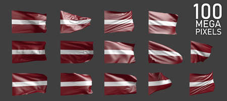 a lot of different realistic renders of Latvia flag isolated on gray background - 3D illustration of object