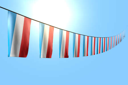 nice any feast flag 3d illustration - many Luxembourg flags or banners hanging diagonal on rope on blue sky background with soft focus