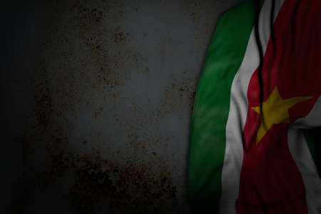 cute dark photo of Suriname flag with big folds on rusty metal with empty place for your content - any feast flag 3d illustration