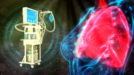human lungs and ICU medical ventilator, cg healthcare 3d illustration Banque d'images