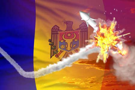 Moldova intercepted ballistic warhead, modern antirocket destroys enemy missile concept, military industrial 3D illustration with flag Banque d'images