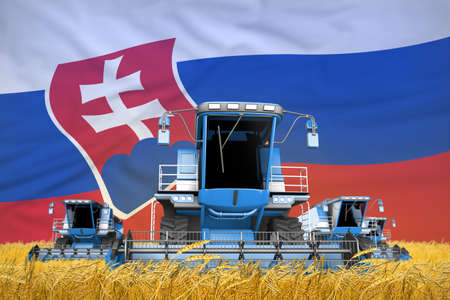 4 light blue combine harvesters on grain field with flag background, Slovakia agriculture concept - industrial 3D illustration