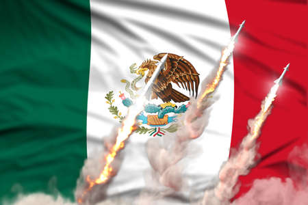 Modern strategic rocket forces concept on flag fabric background, Mexico nuclear warhead attack - military industrial 3D illustration, nuke with flag