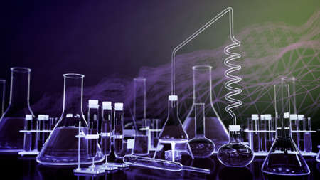 perfume concept, laboratory test-tubes and other glassware with digital effects - may be used as medical background, 3D illustration of objects