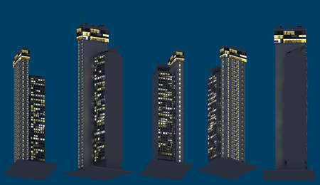 hi-tech fictional houses at night with glowing lights, isolated bottom view megapolis night concept - 3d illustration of skyscrapers