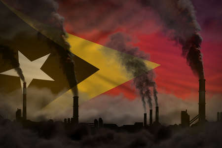 Global warming concept - dense smoke from factory pipes on Timor-Leste flag background with place for your logo - industrial 3D illustration Banque d'images