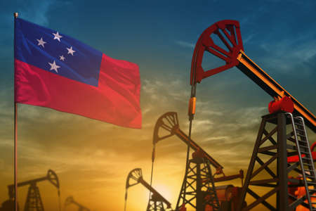 Samoa oil industry concept, industrial illustration. Fluttering Samoa flag and oil wells on the blue and yellow sunset sky background - 3D illustration Banque d'images