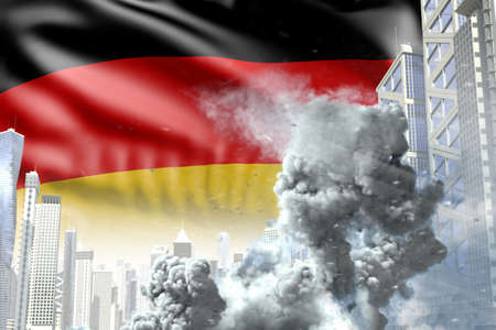 large smoke column in the modern city - concept of industrial explosion or terroristic act on Germany flag background, industrial 3D illustration Banco de Imagens