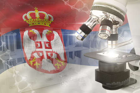 Microscope on Serbia flag - science development digital background. Research of biochemistry design concept, 3D illustration of object