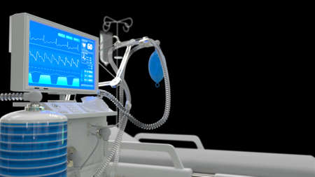 healthcare 3d illustration, ICU lungs ventilator with bed 3d renders, isolated on black
