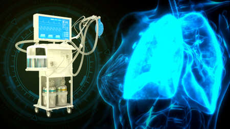 human lungs and ICU covid ventilator, cg healthcare 3d illustration