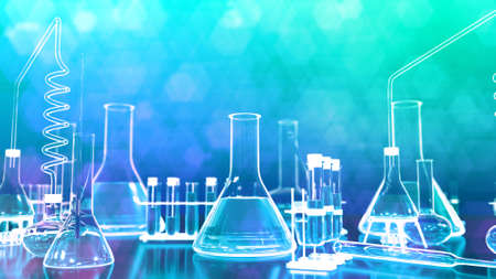 laboratory test tubes and other various glassware - cosmetology concept or biochemistry background, 3D illustration of objects