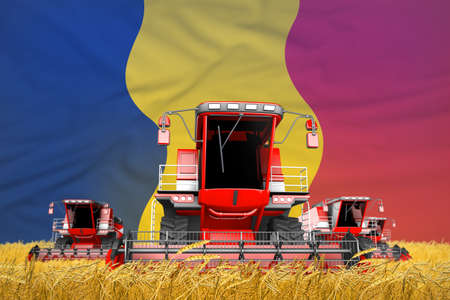 4 bright red combine harvesters on wheat field with flag background, Chad agriculture concept - industrial 3D illustration