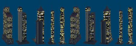 3d illustration of skyscrapers - various fictional architecture at dark time with lights turned on - isolated on dark blue, top view