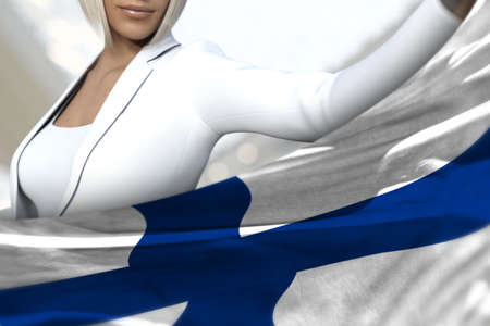 cute business woman is holding Finland flag in front of her on the mall background - flag concept 3d illustration