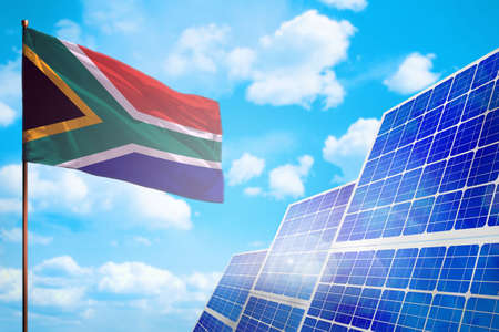South Africa alternative energy, solar energy concept with flag - symbol of fight with global warming - industrial illustration, 3D illustration Imagens