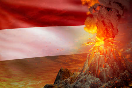 high volcano blast eruption at night with explosion on Hungary flag background, problems of natural disaster and volcanic ash concept - 3D illustration of nature Imagens