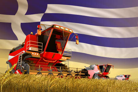 agricultural combine harvester working on grain field with Greece flag background, food production concept - industrial 3D illustration