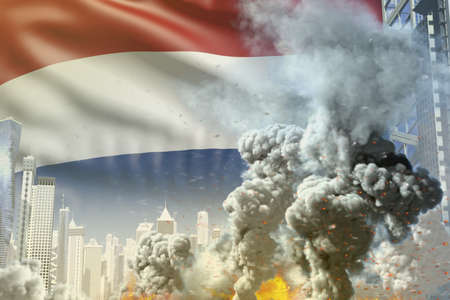 large smoke column with fire in the modern city - concept of industrial accident or terrorist act on Netherlands flag background, industrial 3D illustration