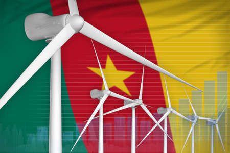 Cameroon wind energy power digital graph concept - green energy industrial illustration. 3D Illustration