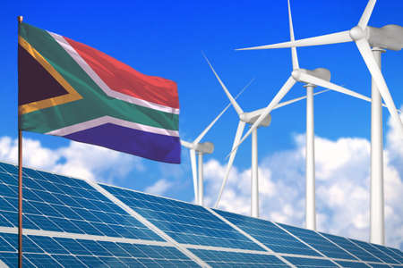 South Africa solar and wind energy, renewable energy concept with windmills - renewable energy against global warming - industrial illustration, 3D illustration