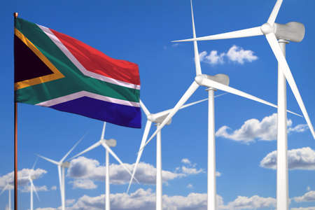 South Africa alternative energy, wind energy industrial concept with windmills and flag - alternative renewable energy industrial illustration, 3D illustration Imagens