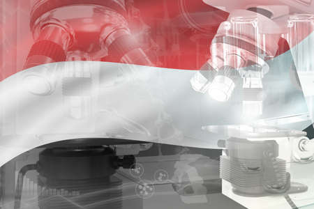 Yemen science development conceptual background - microscope on flag. Research in physics or genetics, 3D illustration of object