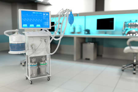 ICU artificial lung ventilator with fictive design in bright hospital with bokeh - fight covid-19 concept, medical 3D illustration Imagens