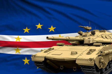 Cabo Verde modern tank with not real design on the flag background - tank army forces concept, military 3D Illustration