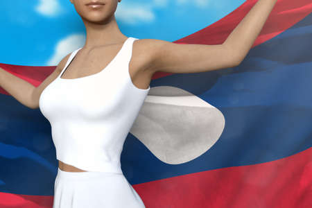 young lady is holding Lao People Democratic Republic flag in her hands behind her on the cloudy sky background - flag concept 3d illustration