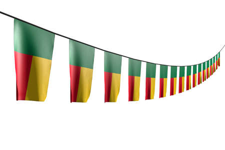 nice day of flag 3d illustration - many Benin flags or banners hangs diagonal with perspective view on string isolated on white
