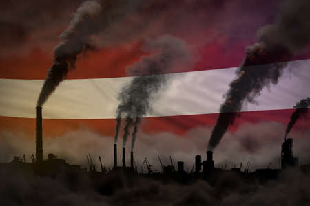 Dark pollution, fight against climate change concept - industrial chimneys heavy smoke on Latvia flag background - industrial 3D illustration Imagens