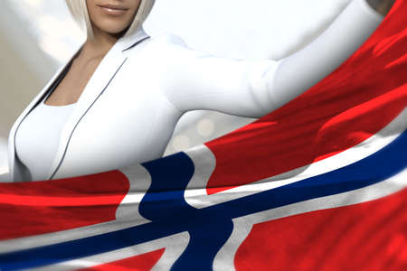 pretty business lady is holding Norway flag in front of her on the mall background - flag concept 3d illustration Imagens