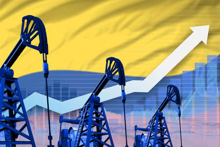 Colombia oil industry concept, industrial illustration - rising up chart on Colombia flag background. 3D Illustration